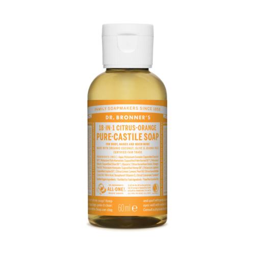 organiczne naturalne ekologiczne wegańskie mydła w płynie z organicznymi olejkami eterycznymi do wielu zastosowań cytrusowo-pomarańczowe 18w1 dr. Bronner's